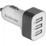 Defender Адаптер за кола UCA03, 3 x USB, 5V/4A ( 2A+1A+1A), бял