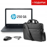 HP Лаптоп 250 G6, 15.6'', 2.6 GHz, 4 GB, 500 GB HDD, черен, с ПОДАРЪК HP чанта и мишка